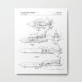 Rocket Patent Drawing Metal Print