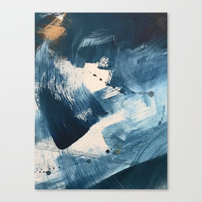 Against the Current: A bold, minimal abstract acrylic piece in blue, white and gold Leinwanddruck