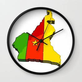 Cameroon Map with Cameroonian Flag Wall Clock