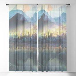 Mountain Lake Under Sunrise Sheer Curtain
