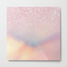 Chic Pink Glitter Iridescent Holographic Gradient Metal Print