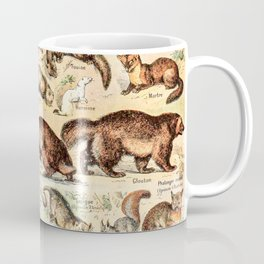 Cute Animals // Fourrures by Adolphe Millot XL 19th Century Science Textbook Diagram Artwork Coffee Mug