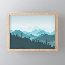 Teal Mountains Framed Mini Art Print