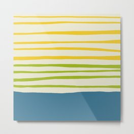 Playing with Strings - Line Art - Blue, Green, Yellow Metal Print