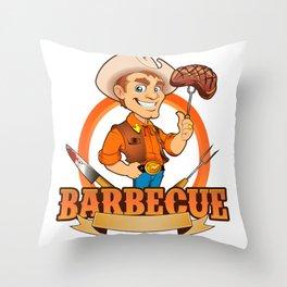 Cowboy Barbecue Chef  Throw Pillow