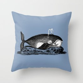 Ink Whale Throw Pillow