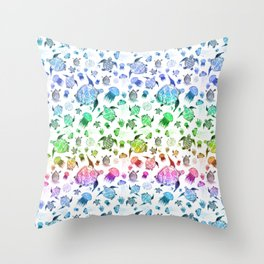 Ocean Life - Rainbow Colors Throw Pillow