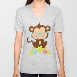 Hipster Monkey, Monkey With Glasses, Flowers Unisex V-Neck