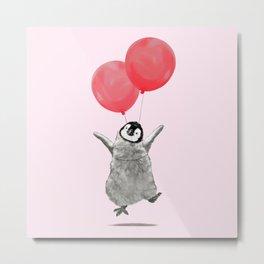 Flying Baby Penguin in Pink Metal Print