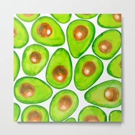 Avocado slices watercolor Metal Print