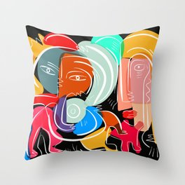 Love your family expressionist cubist street art Throw Pillow
