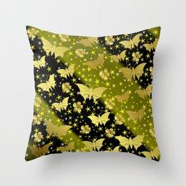 golden butterflies, small asian flowers on black background Throw Pillow