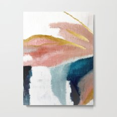 Exhale: a pretty, minimal, acrylic piece in pinks, blues, and gold Metal Print
