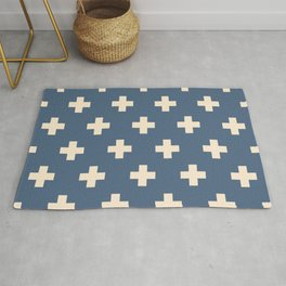 Swiss Cross Blue Rug