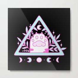 Witchy Cat Paw // Black Metal Print