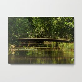 Small bridge in a city garden, trees, lake, pond, St. Petersburg (Russia) (2018-7SPB57) Metal Print