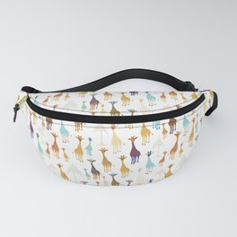 Giraffe of a different Color: white background Fanny Pack