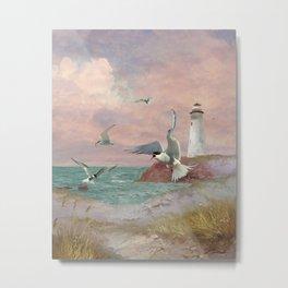 Lighthouse and Terns Metal Print