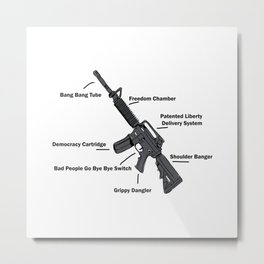 Anatomy of a Gun – Funny - 2nd amendment Metal Print