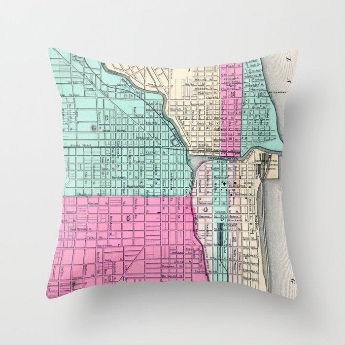 Vintage Map of Chicago IL (1855) Deko-Kissen