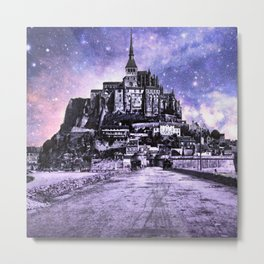 Fantasy Castle Night : Lavender Metal Print