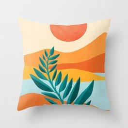 Mountain Sunset / Abstract Landscape Illustration Throw Pillow