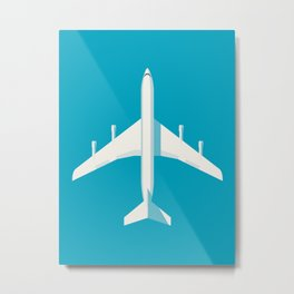 707 Passenger Jet Airliner Aircraft - Cyan Metal Print