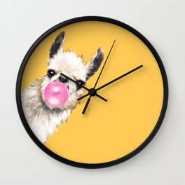 Bubble Gum Sneaky Llama in Yellow Wall Clock