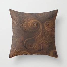 Chocolate Brown Swirls and Spirals Throw Pillow