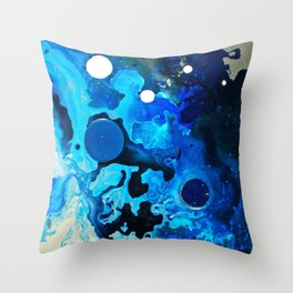 Acqua, Blue ocean abstract painting, NYC Artist Throw Pillow