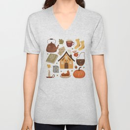 Autumn Cottage Days Unisex V-Neck