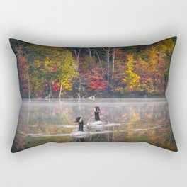 Two Canada Geese swimming in Fall Rectangular Pillow