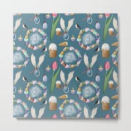 HAppy Easter pattern. Metal Print
