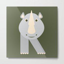 Letter R // Animal Alphabet // Rhino Monogram Metal Print