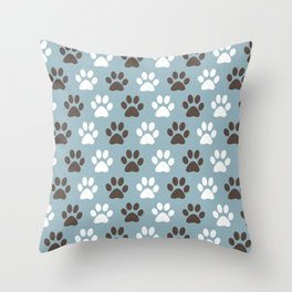 Animal Paw Print Pattern Blue Throw Pillow