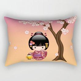 Japanese Sakura Kokeshi Doll Rectangular Pillow