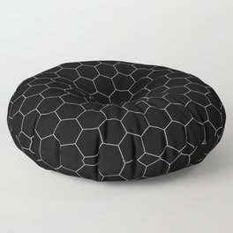 Simple Honeycomb Pattern - Black & White -Mix & Match with Simplicity of Life Floor Pillow