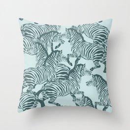 Zebra Stampede in Mint + Pine Throw Pillow