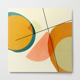 mid century geometric shapes painted abstract III Metal Print