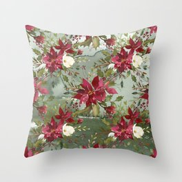 Watercolor botanical green burgundy ivory floral Throw Pillow