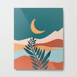 Moonlit Mediterranean / Maximal Mountain Landscape Metal Print