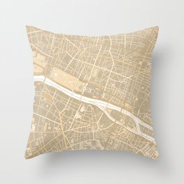 Vintage map of Paris France in sepia Throw Pillow