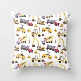 Construction Machines Throw Pillow