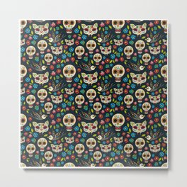 Day Of The Dead Pattern | Dia De Los Muertos Skull Metal Print