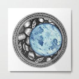 Blue Moon Flower Mandala Metal Print