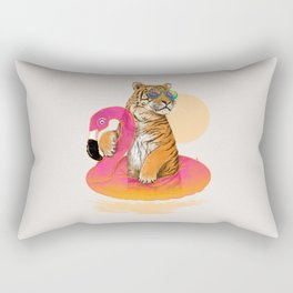 Chillin (Flamingo Tiger) Rectangular Pillow