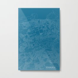 Edinburgh, Scotland, city map, Blueprint design Metal Print
