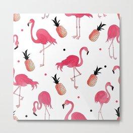 Flamingo and Pineapple Tropical Pattern Metal Print
