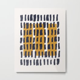 Brush Stroke with Mustard 04 - Abstract Minimal Shapes Modern Mid Century Texture Metal Print
