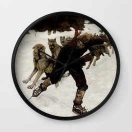 """""""Escaping the Pack"""" by Philip R Goodwin Wall Clock"""